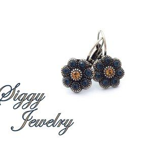 Swarovski Denim and Light Colorado Topaz Earrings